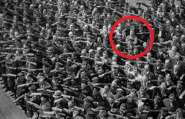 Man refusing to do the Nazi salute