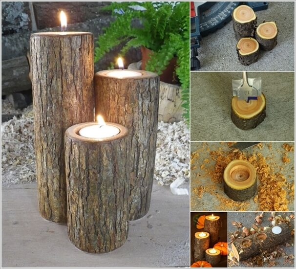 Use thin tree stumps s large candle holders
