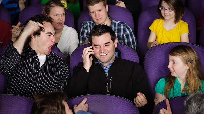 using phone in movie hall
