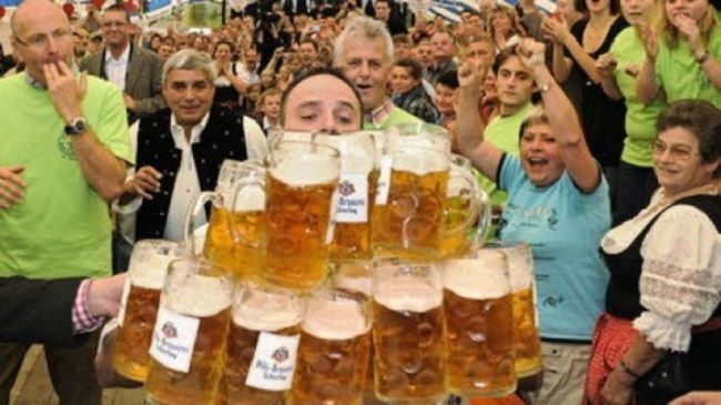 Most beer steins carried over 40 m