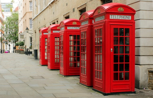 The red coloured phone booths