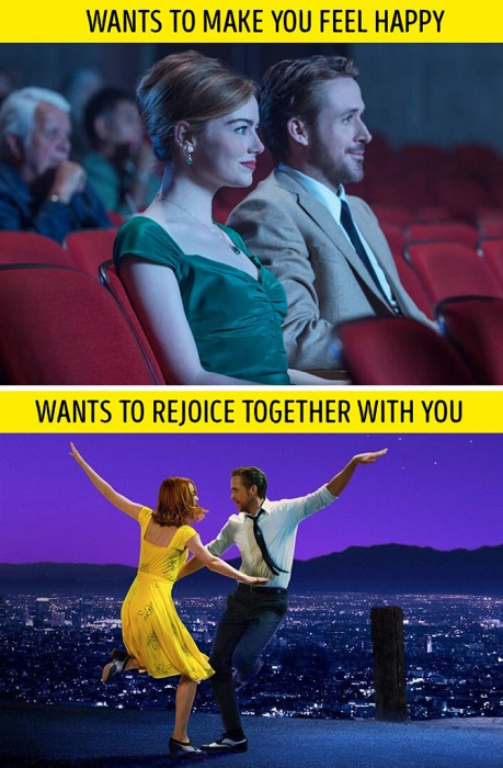 Watching movie and dancing together