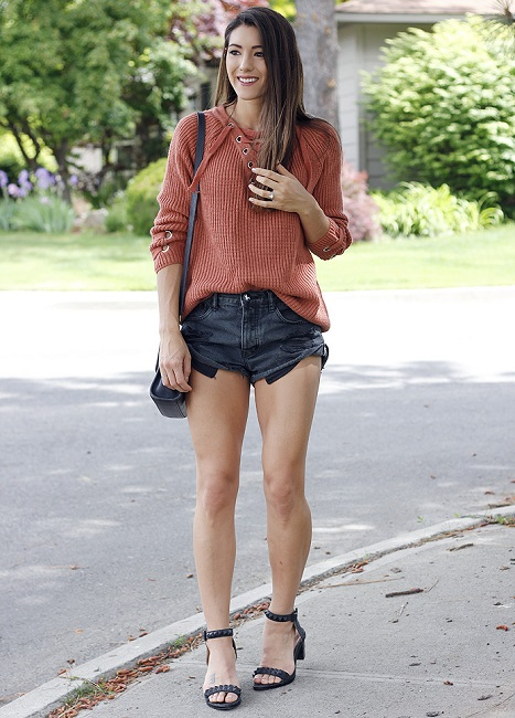 Girl wearing shorts