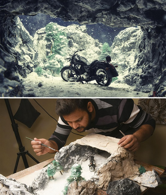 Bike in a snowy cave