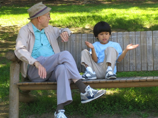 Kid with grandfather