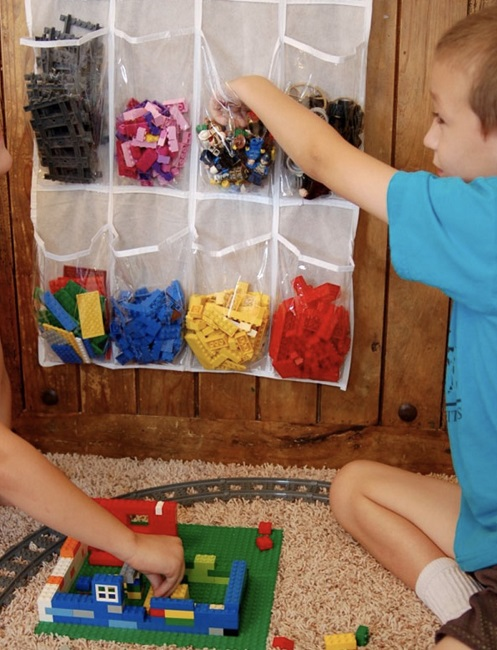 Use shoe storage to organize and teach