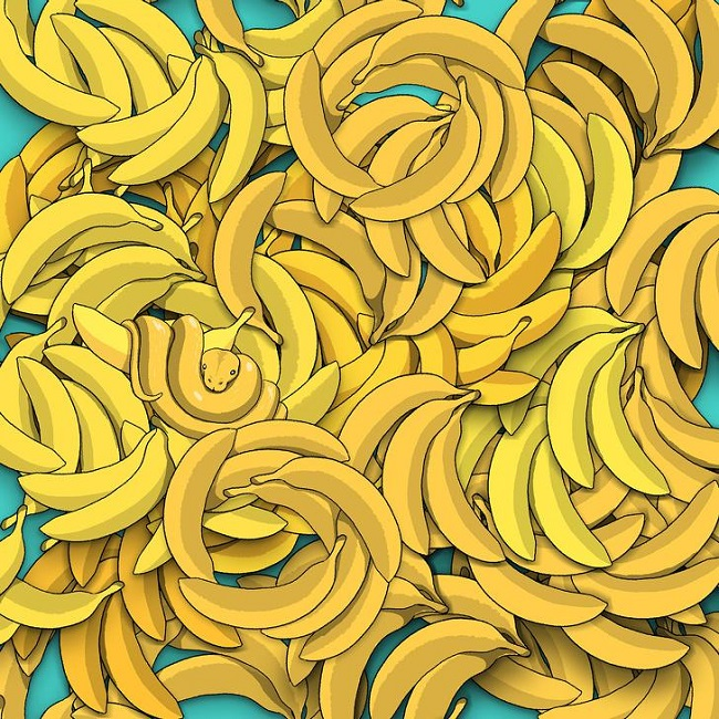 Snake among bananas