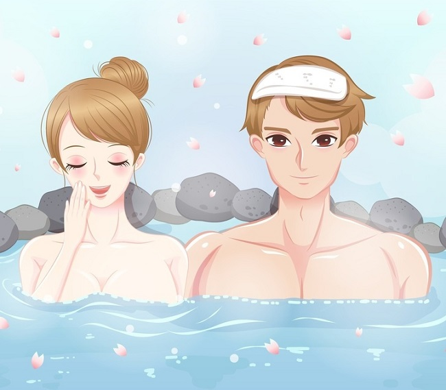Visiting the public bath or hot springs