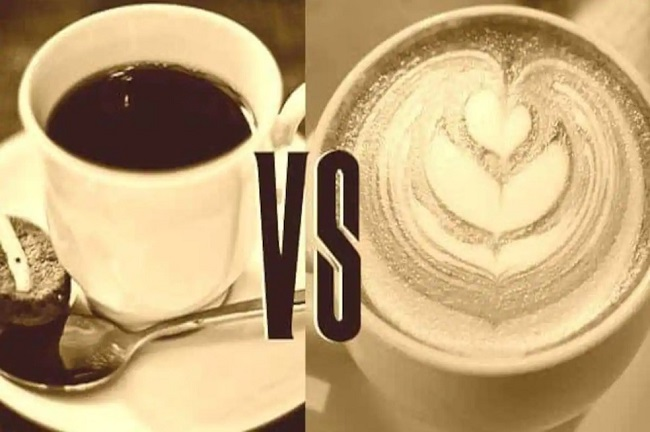 Black coffee vs milk coffee