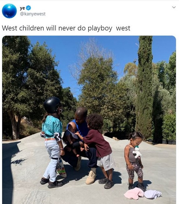 Kanye west playing with kids