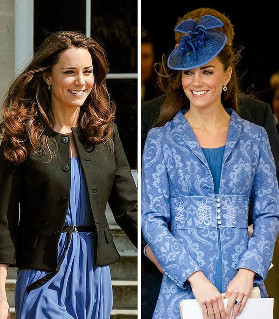 Her blue dress with and without blazer