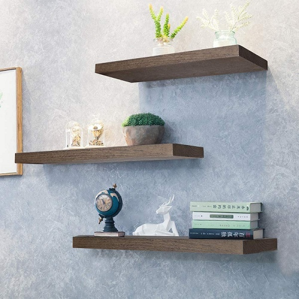 Wall-mounted storage shelves