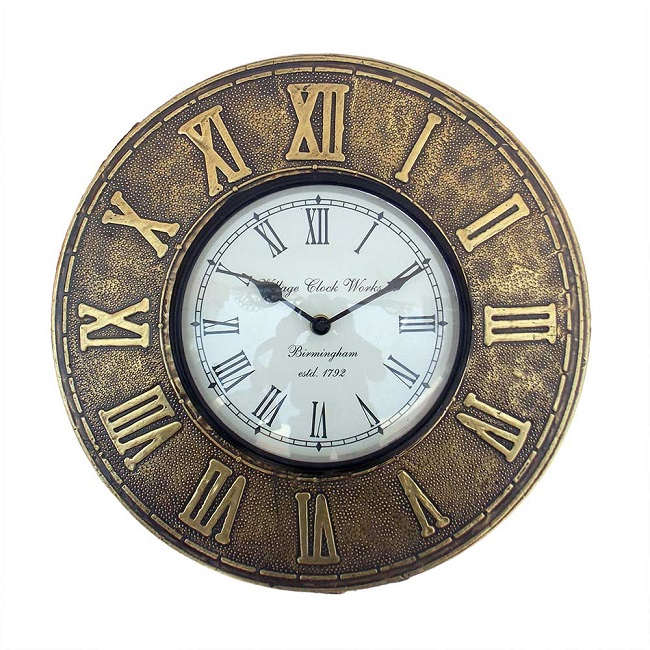 Wall clock with roman numbers