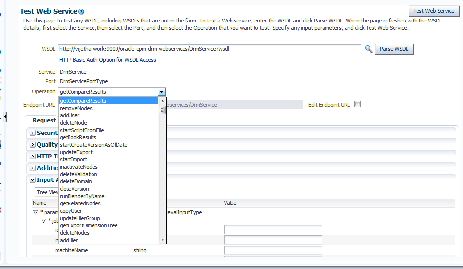 List of APIs when viewed from Oracle EM