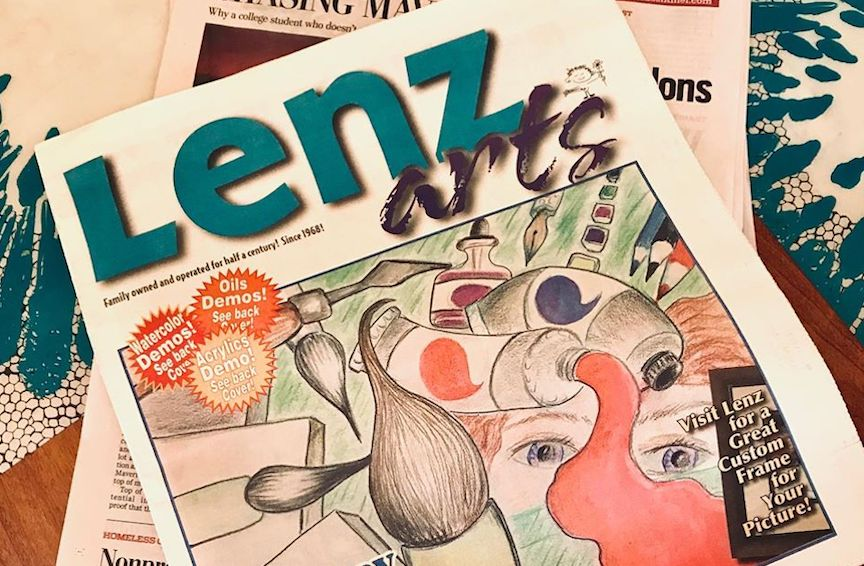 The locally famous newspaper ads for Lenz Arts in Santa Cruz