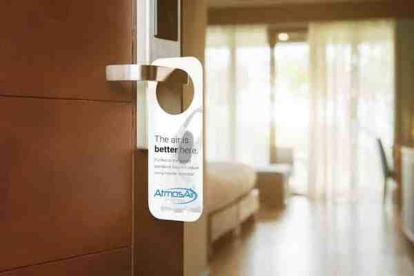 AtmosAir Solutions hotel door hanger for its bi-polar ionization - Steve Levine CEO