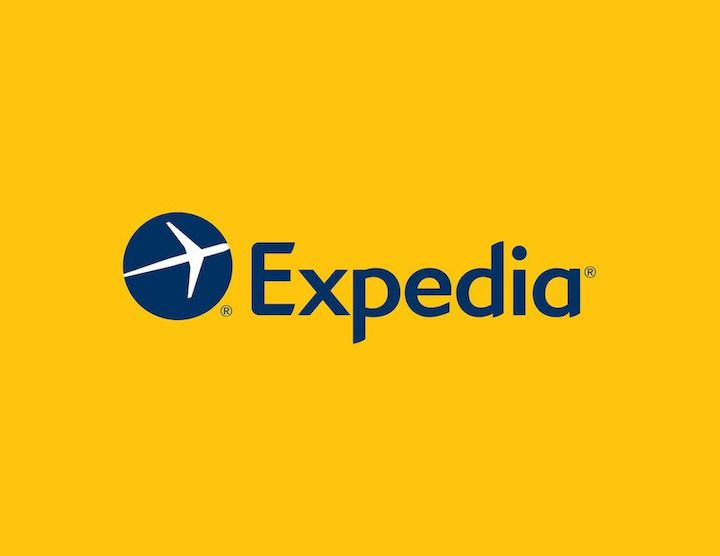 Expedia logo with yellow background