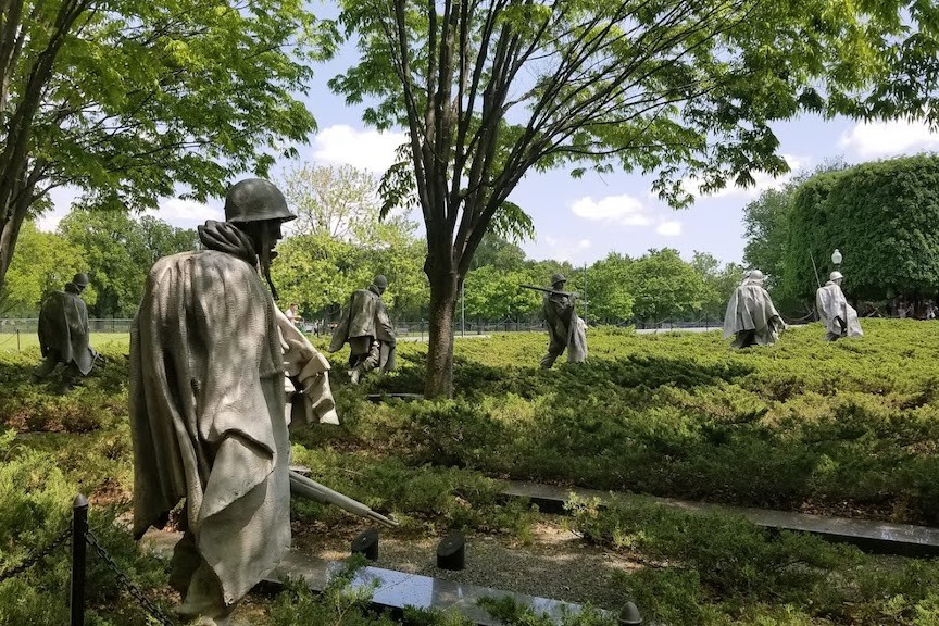 Sculpted American soldiers, part of the Korean War Memorial near the Lincoln Memorial