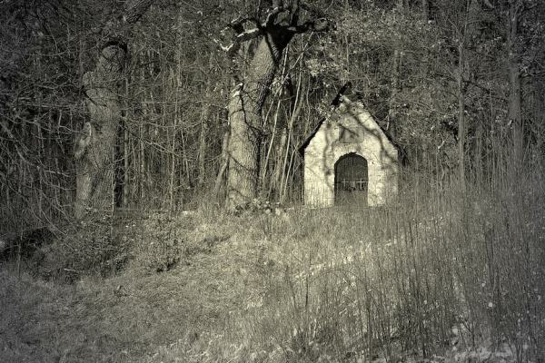 black and white image of Bell Witch property, in the supernatural halloween town of Jackson