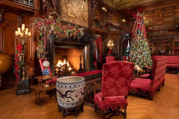 The estate home's library with a Christmas tree at the Biltmore, near Greenville