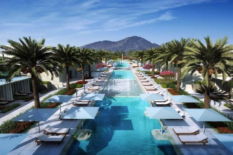 The 400+ foot long swimming pool at the new Ritz Carlton Paradise Valley resort hotel near Scottsdale