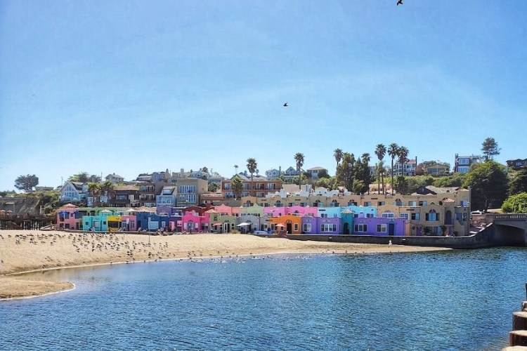 The colorful vacation rentals at the historic Capitola Venetian in Capitola Village