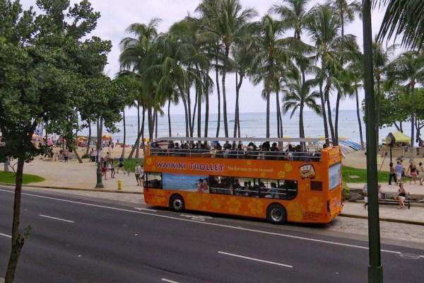 Waikiki Trolley on Kalakaua at Waikiki Beach