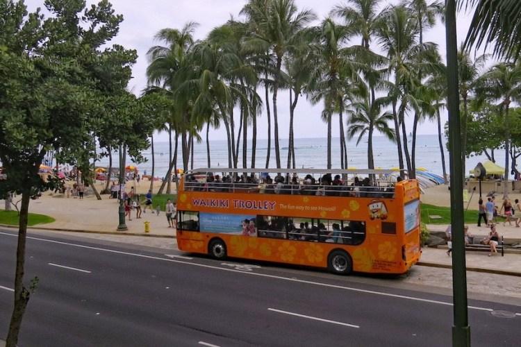 Waikiki Trolley on Kalakaua