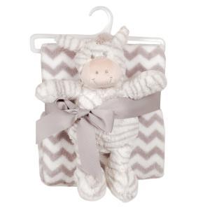 Babyfilt M gosedjur zebra Ljusgrå