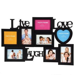 Fotoram Collage live love Svart