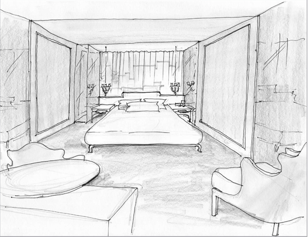 Modrian Hotel-Room Interior Sketch