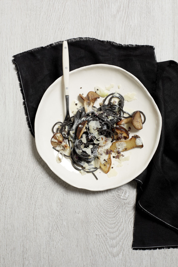Black Spaghetti with Mushrooms and Parmesan-1