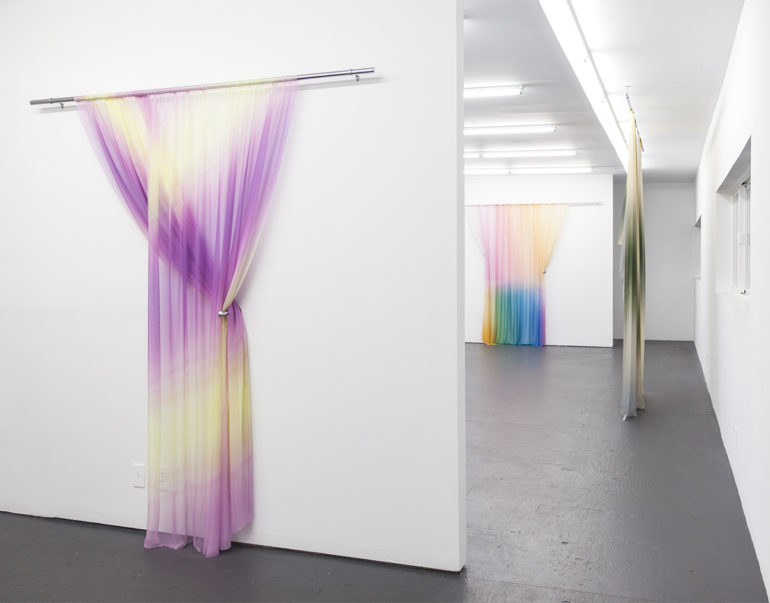 Justin Morin's printed silk installations