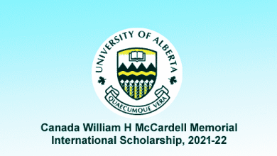 Canada William H McCardell Memorial International Scholarship, 2021-22