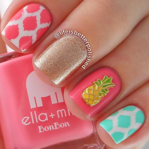 2 Cute Summer Nail Designs Pineapple Charm Art Design