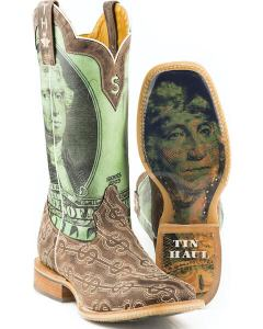 A cowboy boot with US currency superimposed on it