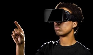A young man using a VR headset.