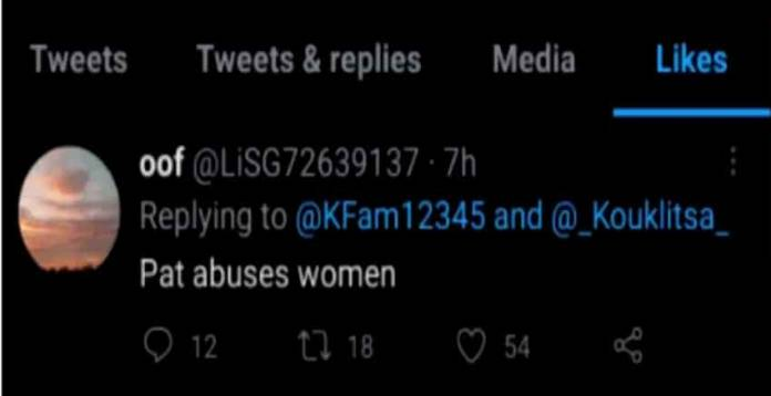 Jen tweet that said Patrick abuses women