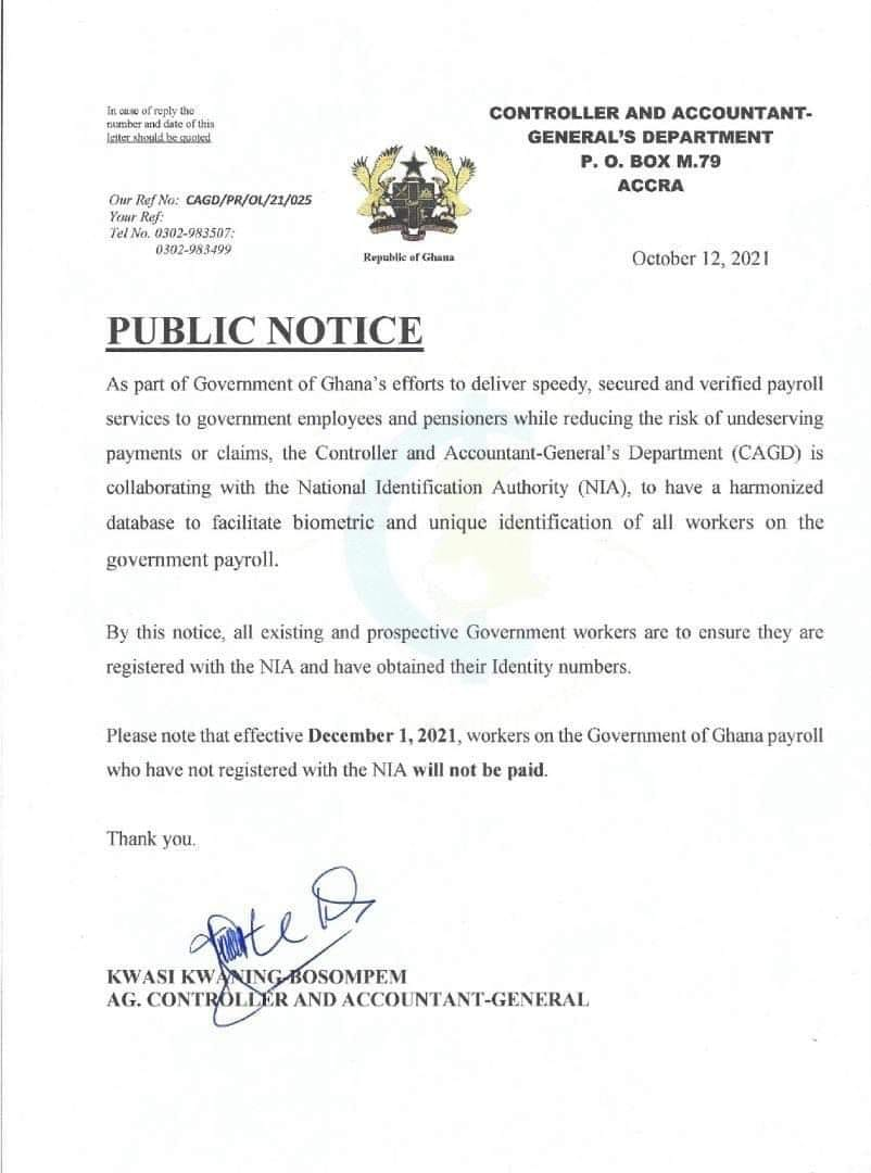 Ghanaian Public Sector Workers Must Have Ghana Card