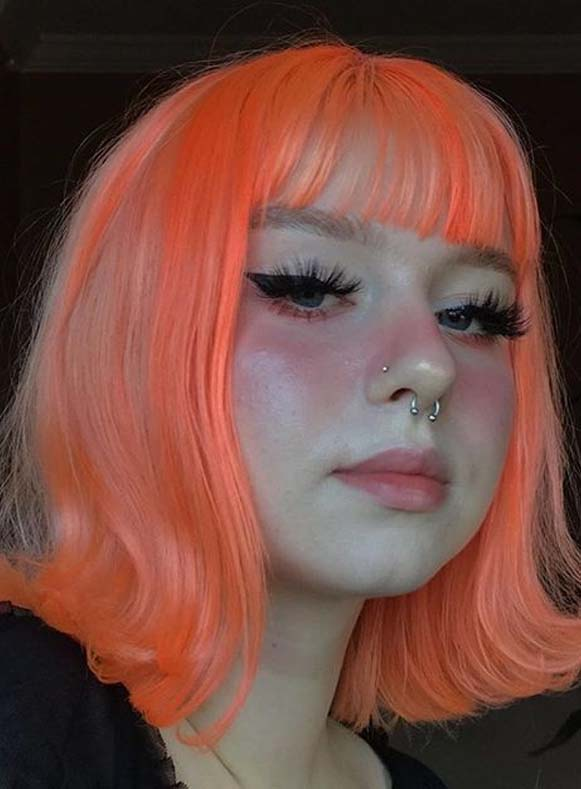 Awesome Pink Medium Haircuts with Bangs and Flipped Ends in 2020