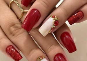Adorable & Cute Red Coffin Nails to Boost Your Finger Look