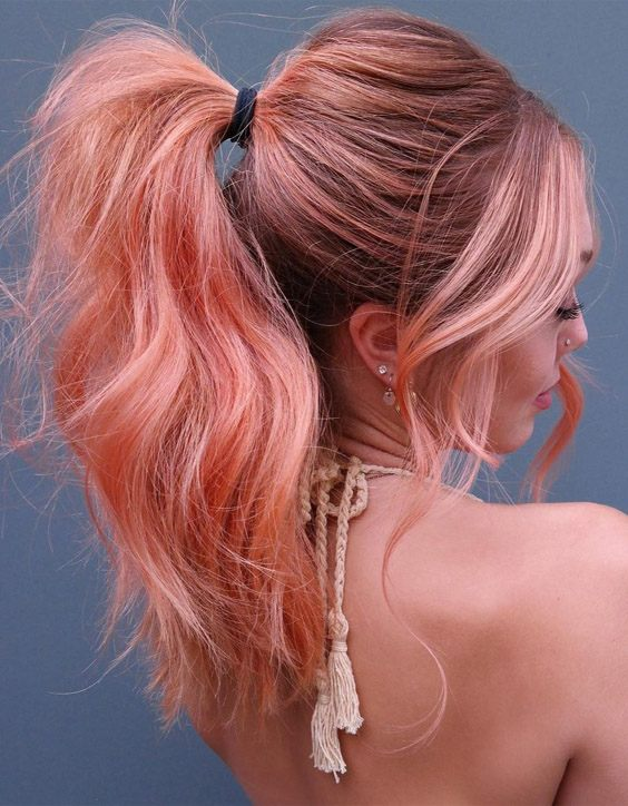 Incredible Look of Peach Pink Pony Hairstyle for Next Occasion