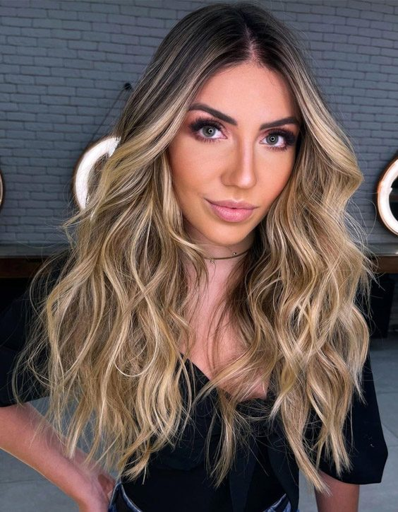 Fresh look of Sunset Blonde Highlights for Long Hair