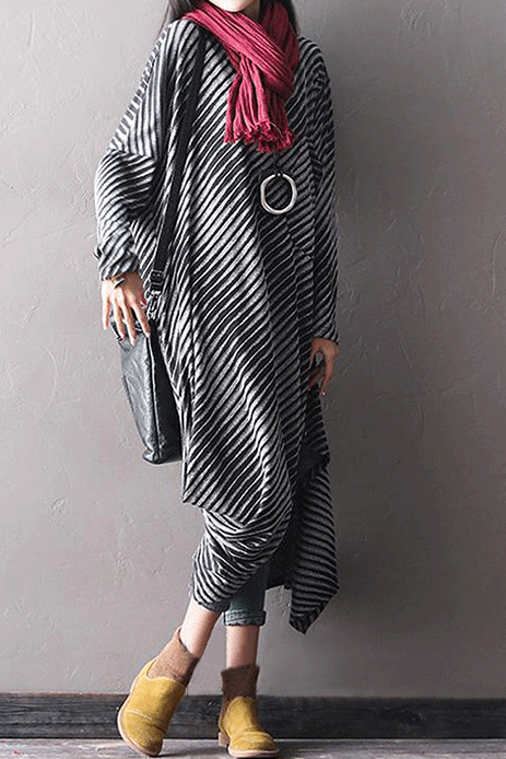 Striped Batwing Sleeve Round Neck Asymmetrical Dress