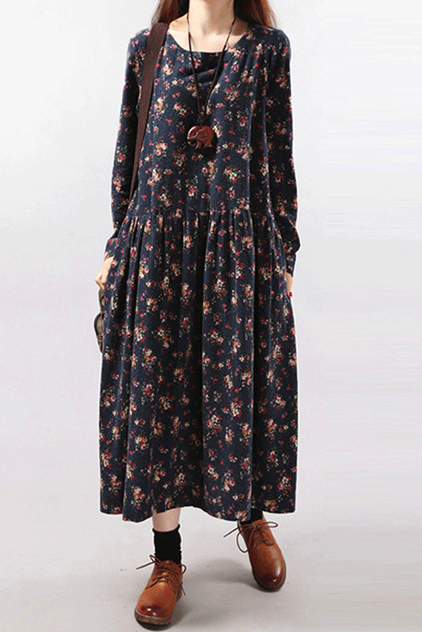 Floral Printed O-Neck Long Sleeve A-Line Dress