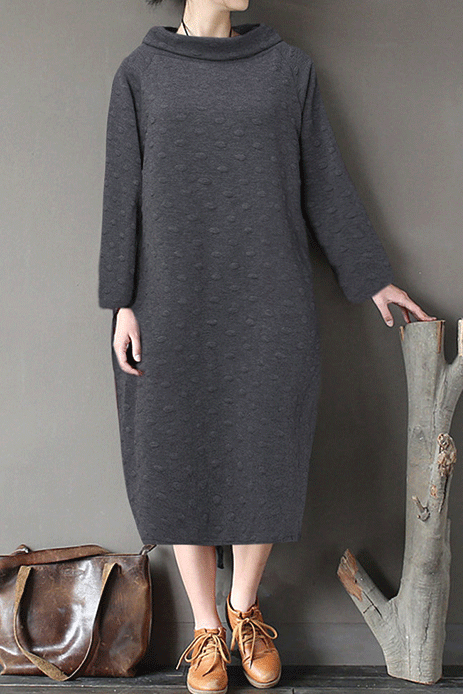 Polka Dot Embossed Turtleneck Long Sleeve Dress