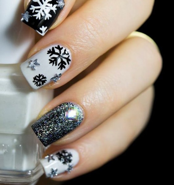Nail Designs with Snowflakes