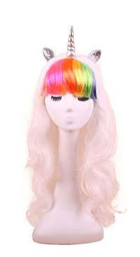 unicorn wig white rainbow