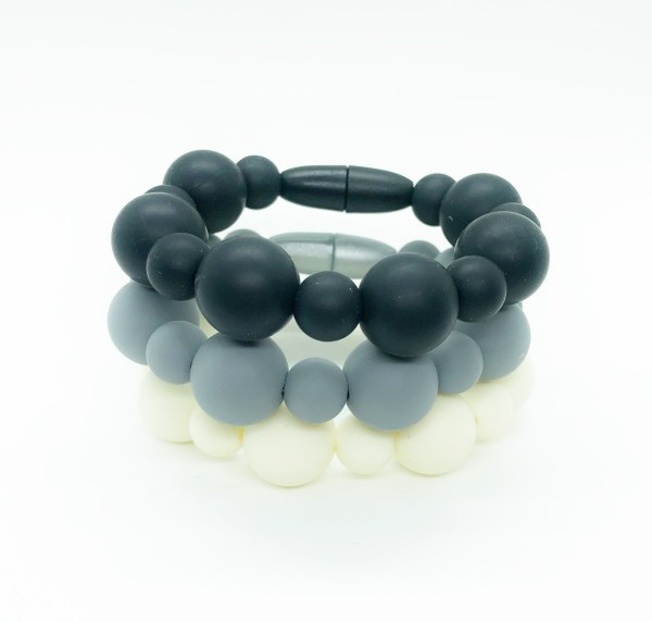 Set of Three Sensory Fidget Silicone Bracelets in Classy Colors