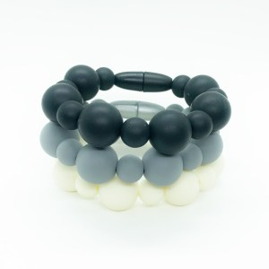 Set of Three Sensory Fidget Silicone Bracelets in Classy Colors